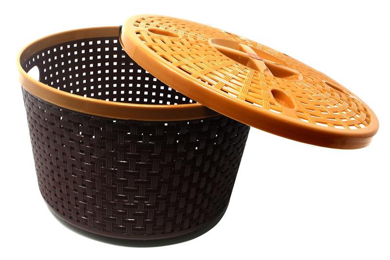 Nakoda Silky Round Basket Woven midiumStorage Box Brown 2 pcs